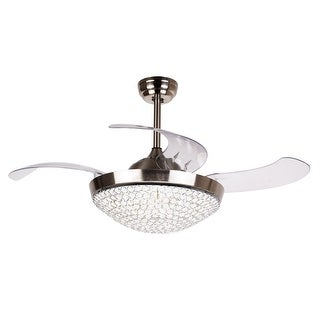 Dimmable Restracable 4-Blades Crystal 42-inch LED Ceiling Fan - CHROME