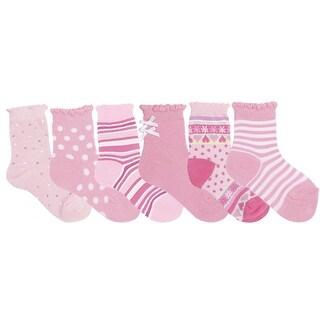 Nicky Noodles Little Girls' 6 Pack Quarter Socks - Sugar and Spice Pink