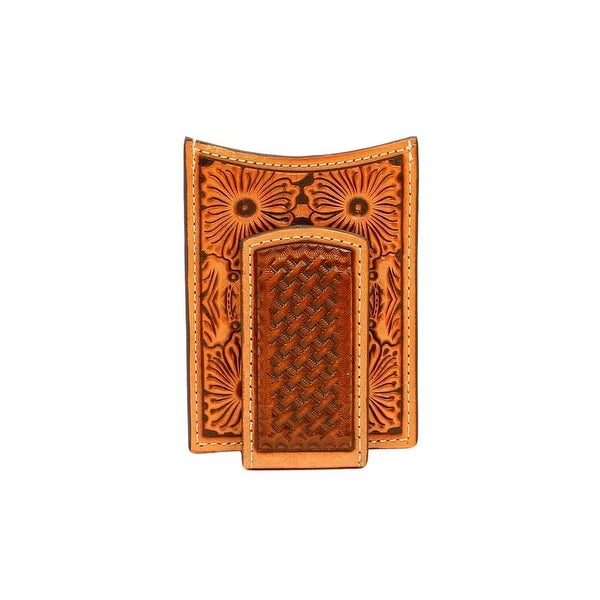 Ariat Western Wallet Mens Money Clip Floral Embossed Tan - One size