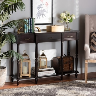 Link to Hallan Classic Dark Brown Finished Wood 3-Drawer Console Table Similar Items in Living Room Furniture
