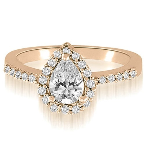 1.00 cttw. 14K Rose Gold Pear And Round Shape Halo Diamond Engagement Ring