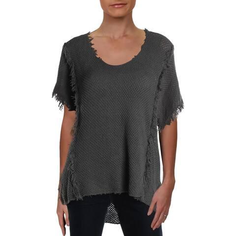 VELVET BY GRAHAM & SPENCER Womens V-Neck Sweater Cotton Fringe - Gray - L