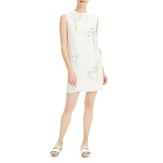 Theory Womens Shift Dress Linen Print - Nature Linen Multi