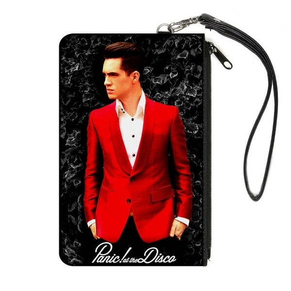 Panic! At The Disco Red Jacket Pose Leaves Black Grays White Canvas Zipper Canvas Zipper Wallet