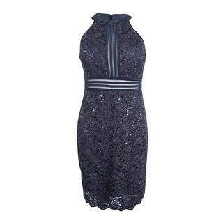Nightway Women's Petite Glittered Illusion Halter Dress - charcoal