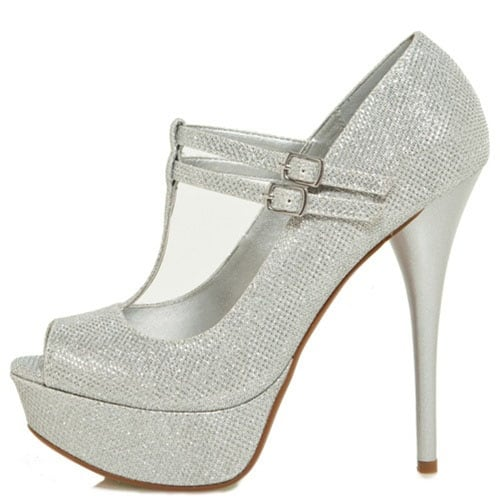 Qupid Women's Neutral-443 High Heel Glitter Pumps Shoes - Silver Glitter