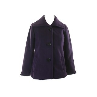 Jm Collection Purple Wing-Collar Button-Front Jacket P-P