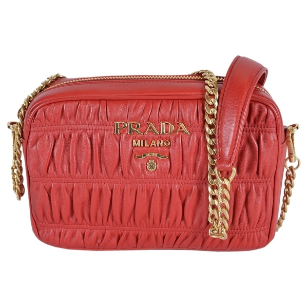 3c9c46e841796d Shop Prada 1BH112 Fuoco Red Ruched Leather Small Crossbody Purse ...