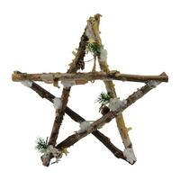 "13.75"" Medium Rustic Snowy Wooden Branch Star Shaped Christmas Ornament"