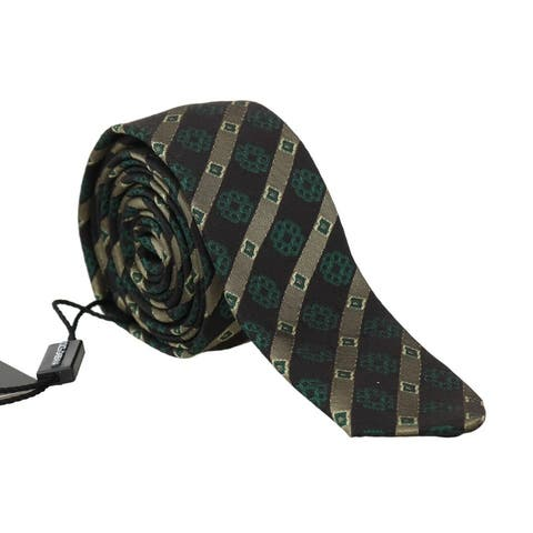 Dolce & Gabbana Green Yellow Silk Striped Slim Men's Tie - One Size