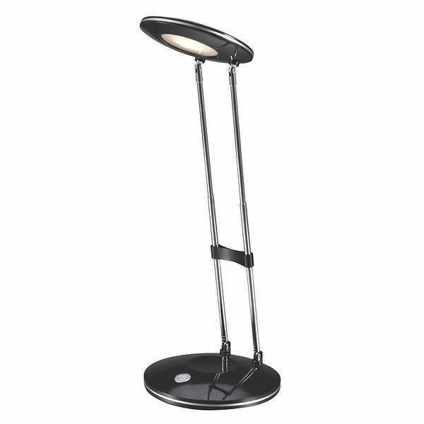PureOptics® LED Telescoping Desk Lamp, LEDs, Matte Finish, Adjustable Height, Folds Flat, 2.5W, 220 Lumens, Black/Silver. Opens flyout.