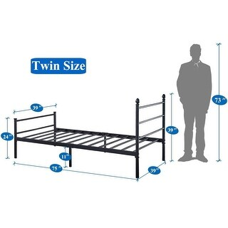 VECELO  Platform Bed Frame Metal Beds Mattress Foundation with Headboard and Footboard(Twin/Full/Queen Size 3 Opotion) (Twin)