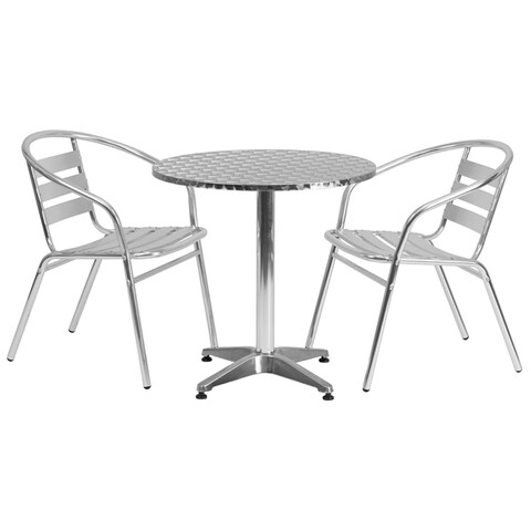 """Offex 27.5"""" Round Aluminum Indoor-Outdoor Table With 2 Slat Back Chairs"""