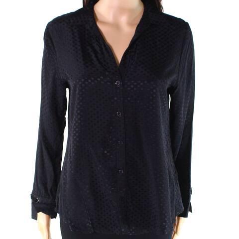 Foxcroft Women Top Black Size 14W Plus Polka-Dot Button Down Velvet-Cuff