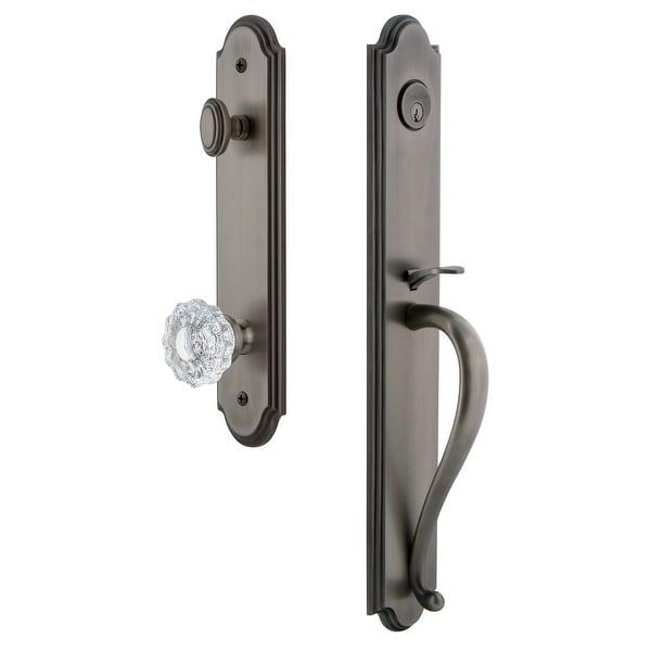 "Grandeur ARCSGRVER_ESET_234 Arc Solid Brass Rose Keyed Entry Single Cylinder Full Plate ""S"" Grip Handleset with Versailles"