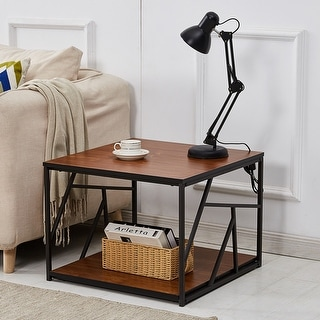 VECELO Coffee Table/End Table/Cocktail Table Square/Rectangular Brown Finish Industrial Style