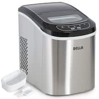 Della Portable Ice Maker Easy-Touch Buttons 2 Selectable Cube Sizes - Up To 26 LBS of Ice Daily -Stainless Steel