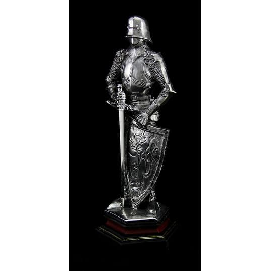 Medieval Knight In Armor Standing Holding Sword And Shield Statue 9 Inch Overstock 17846578