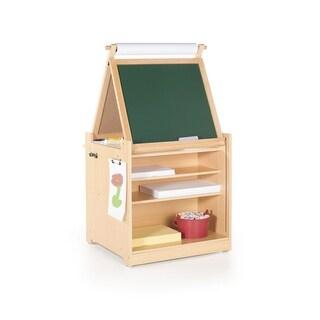 Guidecraft Desk to Easel Art Cart - Chalkboard, Paint Cups, Fabric Bins