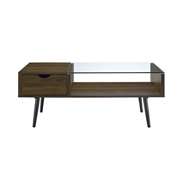 Shop Offex Mid Century Modern Wood and Glass Coffee Table ...