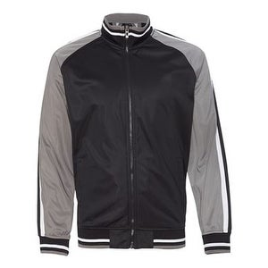 Burnside Striped Sleeve Track Jacket - Black/ Charcoal/ White - L