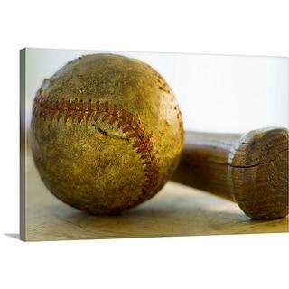 """Antique baseball with baseball bat"" Canvas Wall Art"