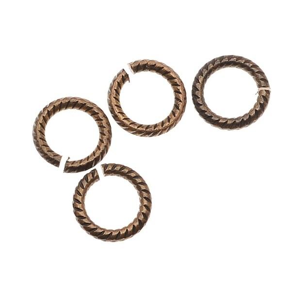 Vintaj Natural Brass Rope Edge Open Jump Rings 6mm 19 Gauge (20)