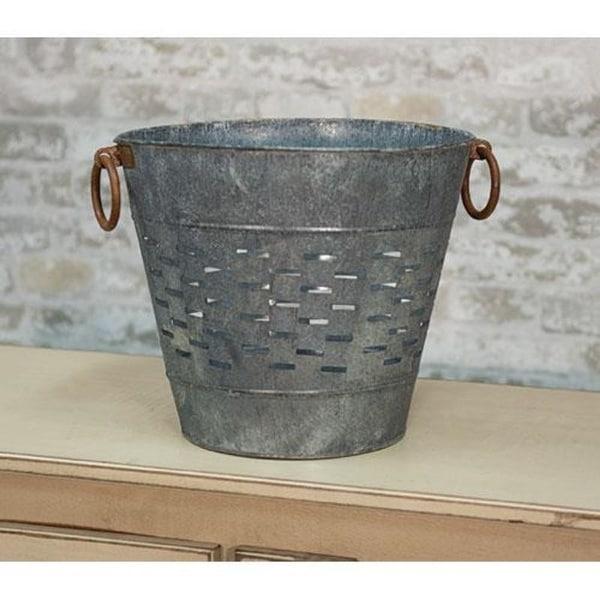 "10.5"" Galvanized Olive Bucket"