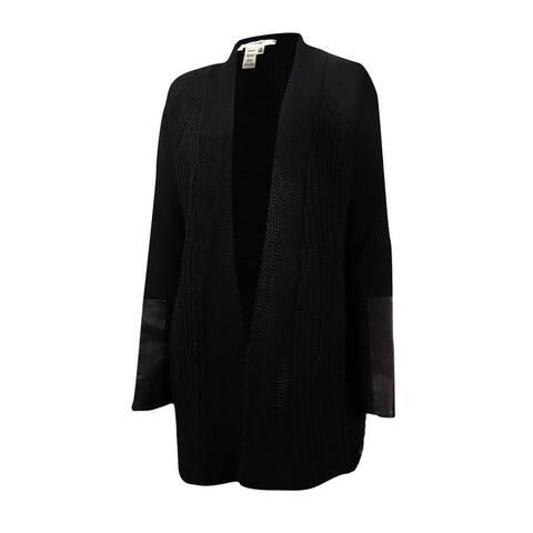 Studio M Women's Faux Leather Trim Open Shawl Cardigan - Black - XS