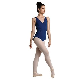 Danshuz Women's Navy Lace Back Classic Surplice Wrap Dance Leotard
