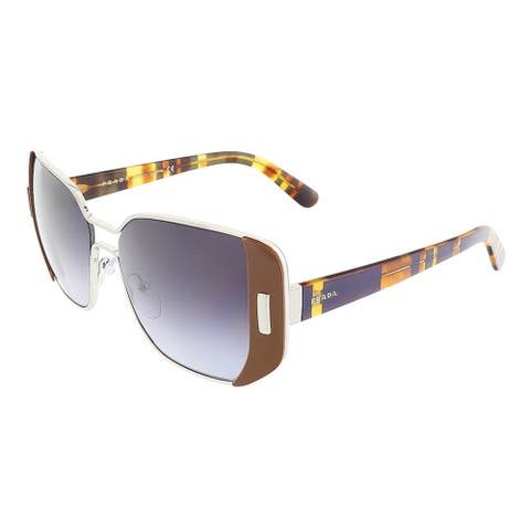 Prada PR 59SS USA5D1 Silver/Brown Rectangular Sunglasses - 54-16-135