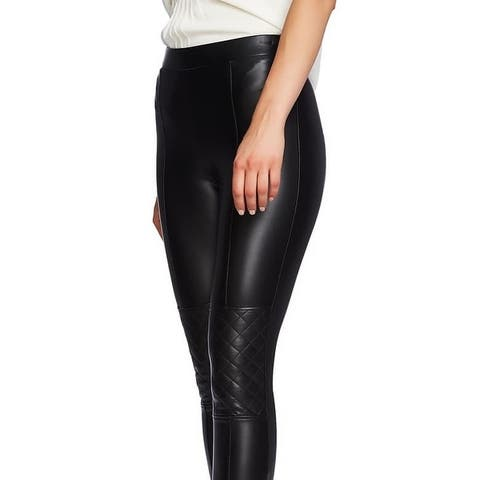 1 State Faux Leather Quilted Knee Moto Pants Rich Black