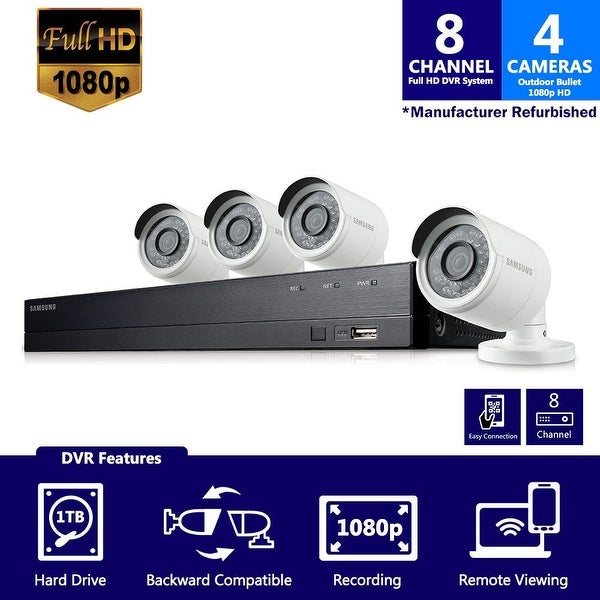 SDH-B74041 - Samsung 8 Channel 1080 Full HD HD Video Security System with 4 Outdoor Cameras (Refurbished)