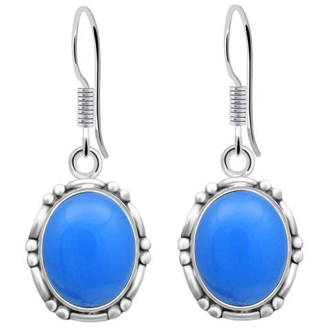 Chalcedony Sterling Silver Oval Dangle Earrings by Orchid Jewelry