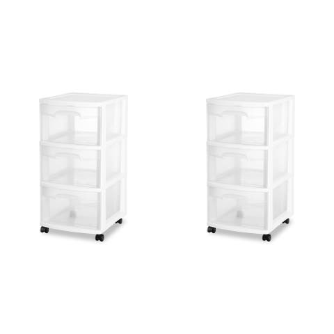 """Case of 2 Sterilite 3 Drawer Rolling Carts - 12.63"""" wide"""