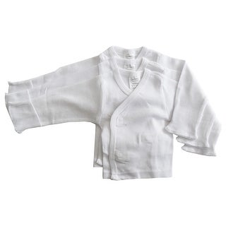 Bambini Long Sleeve Side Snap With Mittens - 3 Pack (White, Newborn)