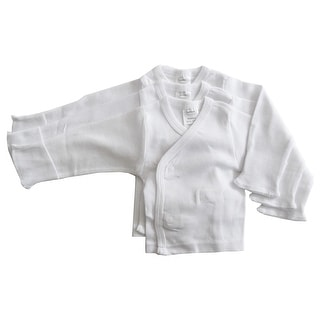 Bambini Long Sleeve Side Snap W/ Mitten 3 Packcuff (White, Preemie)