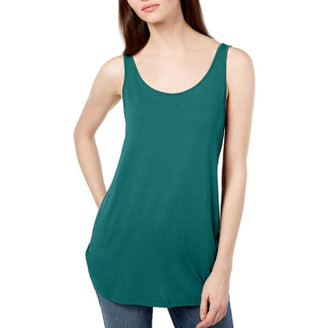 Eileen Fisher Women's Scoop Neck Tank Shirt Top, Turquoise, XX-Small