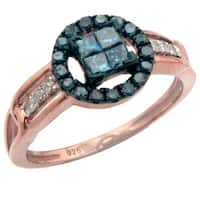 Atrractive 0.48ct Princess and Round Blue Color Diamond with Real Diamond Designer Engagement Ring