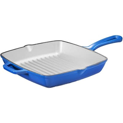 Bruntmor Enameled Cast Iron Square Grill Pan, 10-Inch, Cobalt Blue - Cast Iron Grill Pan