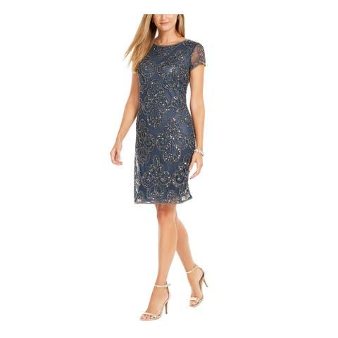 JKARA Gray Short Sleeve Above The Knee Dress 14