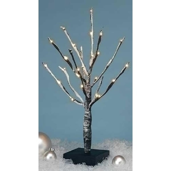 "16"" Amusements Battery Operated LED Lighted Warm White Snowy Christmas Twig Tree - CLEAR"