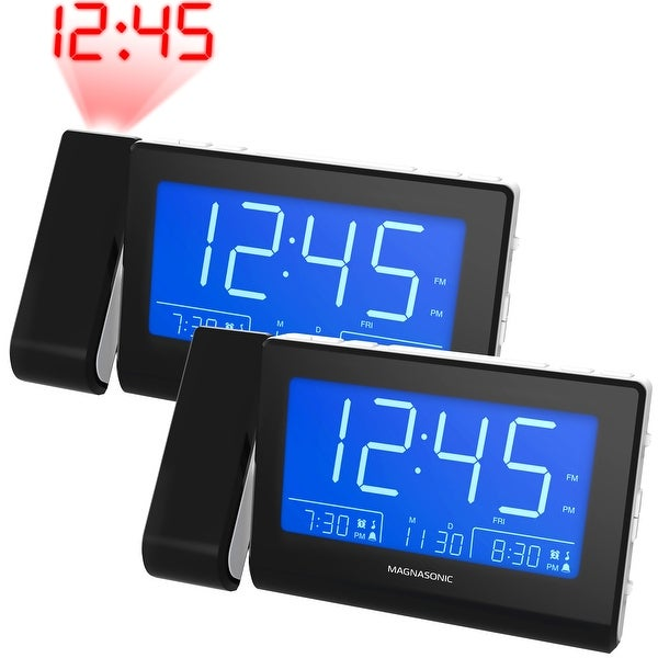 Magnasonic Alarm Clock Radio with USB Charging for Smartphones, Time Projection, Dual Gradual Wake Alarm - 2 Pack
