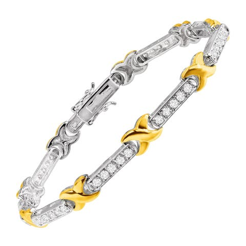 """'XO' Link Cubic Zirconia Bracelet in 14K Gold-Plated Sterling Silver, 7.25"""" - White"""