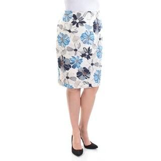 CHARTER CLUB $45 Womens New 1544 Ivory Floral Knee Length Pencil Skirt 14 B+B