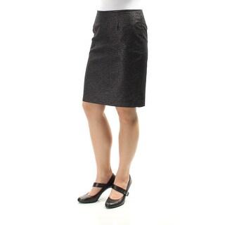 CALVIN KLEIN Womens Black Glitter Above The Knee Pencil Skirt Petites Size: 6