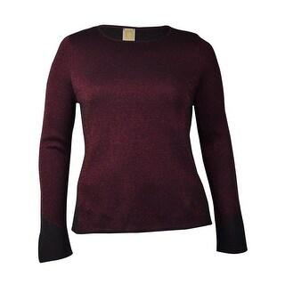 Anne Klein Women's Metallic Wool Blend Sweater (XL, Black/Troubadour Red) - xL