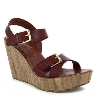 Nomadas Adult Tan Ankle Closure Buckled Strap Trendy Wedge Sandals