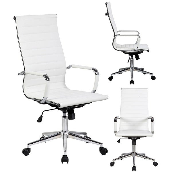 2xhome White Executive Ergonomic High Back Modern Office Chair Ribbed PU Leather Swivel for Manager Conference  sc 1 st  Overstock.com & Shop 2xhome White Executive Ergonomic High Back Modern Office Chair ...