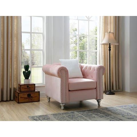 Raisa Velvet Crystal Accent Chair
